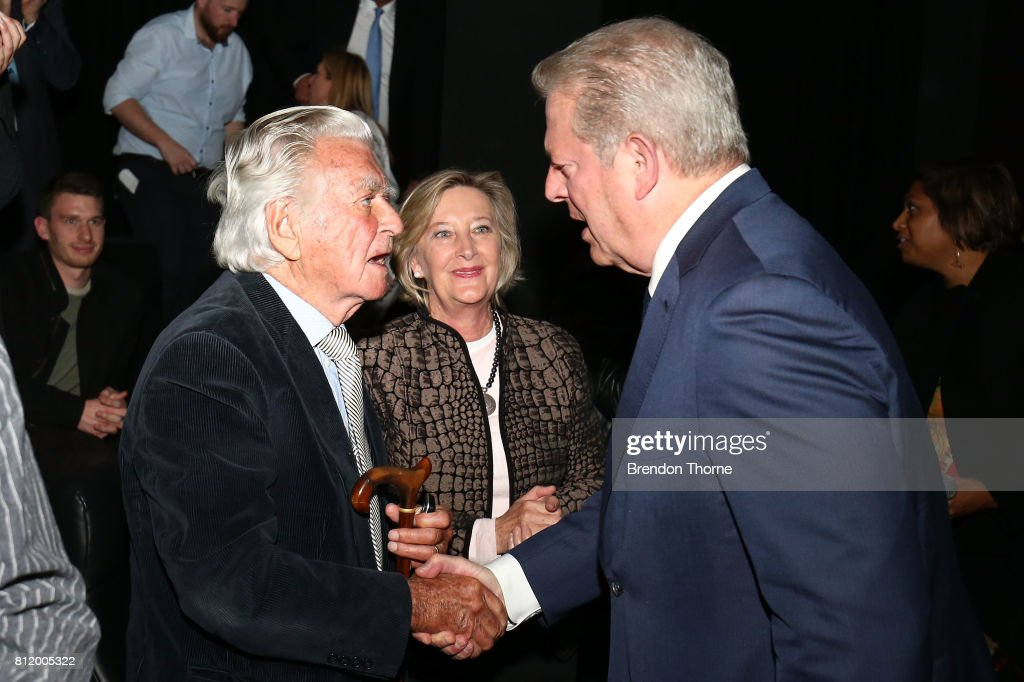 Al Gore shakes hands with Bob Hawke following a special screening of 'An Inconvenient Sequel: Truth to Power' at Event Cinemas Bondi Junction on July 10, 2017 in Sydney, Australia.