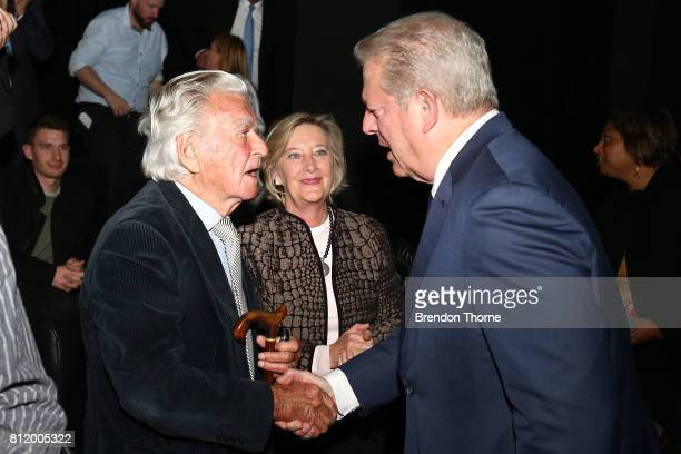 Al Gore shakes hands with Bob Hawke following a special screening of 'An Inconvenient Sequel Truth to Power' at Event Cinemas Bondi Junction on July...
