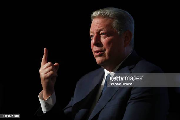 Al Gore speaks during a QA following a special screening of 'An Inconvenient Sequel Truth to Power' at Event Cinemas Bondi Junction on July 10 2017...