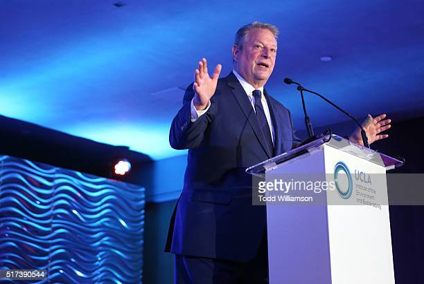 Al Gore speaks onstage during UCLA IOES celebration of the Champions of our Planet's Future on March 24 2016 in Beverly Hills California