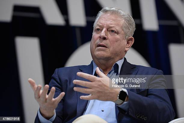 Al Gore talks on stage during the WPP seminar as part of the Cannes Lions International Festival of Creativity on June 26 2015 in Cannes France