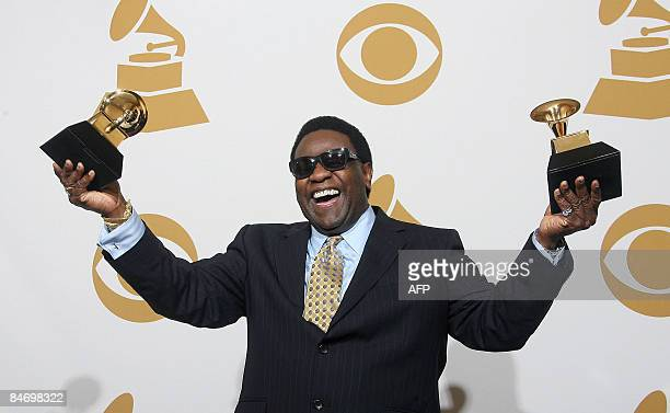 Al Green holds the Grammy award for the Best RB Performance By A Duo Or Group With Vocals and Best Traditional RB Vocal Performance in the photo room...