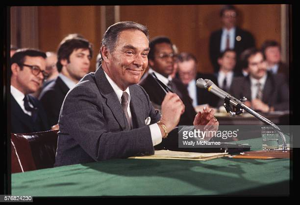 Al Haig testifies before the Senate Foreign Relations Committee for his nomination to be Secretary of State Haig was confirmed and served in the...