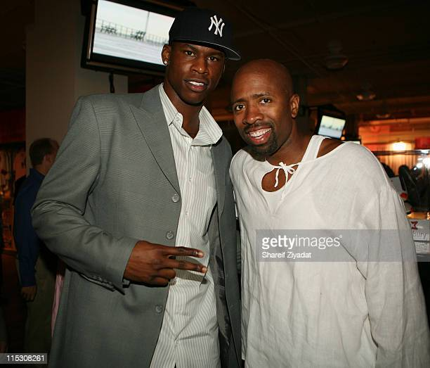 Al Harrington and Kenny Smith during Stephon Marbury InStore Appearance For His 'Starbury' Clothing Line VIP Room at Steve and Barry in New York City...