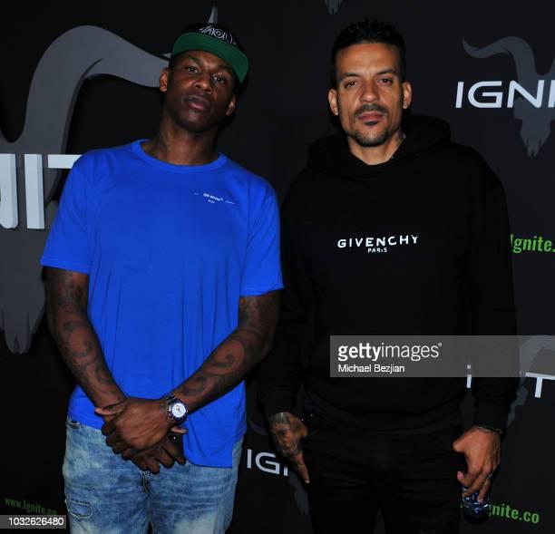 Al Harrington and Matt Barnes arrive at Ignite Cannabis Co Launch Party on September 12 2018 in Los Angeles California