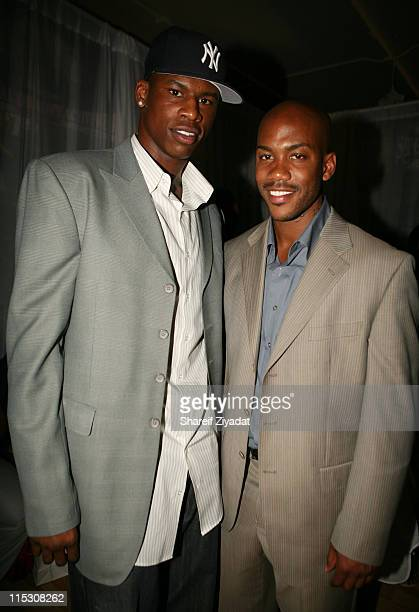 Al Harrington and Stephon Marbury during Stephon Marbury InStore Appearance For His Starbury Clothing Line VIP Room at Steve and Barry in New York...