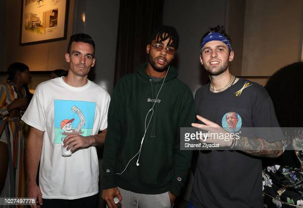 Al Harrington D'Angelo Russell and Chris Brickley attend Color Blind Pop Up Fashion Show on September 5 2018 in New York City