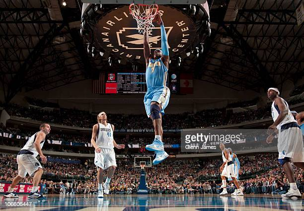 Al Harrington of the Denver Nuggets goes up for the dunk against the Dallas Mavericks during a game on November 6 2010 at the American Airlines...