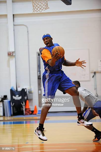 Al Harrington of the New York Knicks grabs a rebound during the New York Knicks practice at their practice facility on October 14 2009 in Tarrytown...