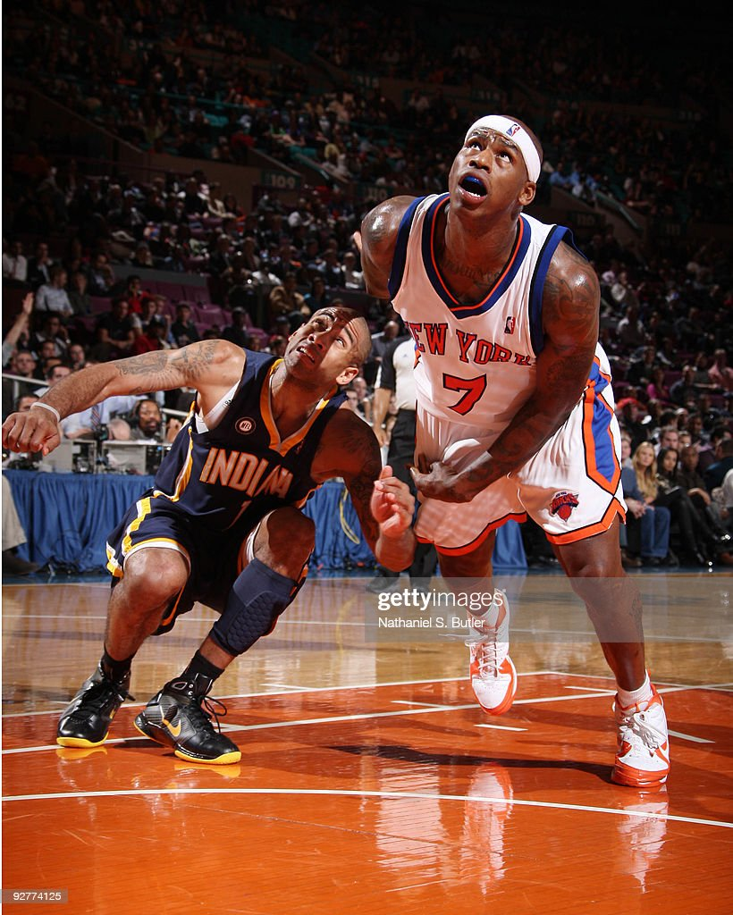Al Harrington #7 of the New York Knicks looks for the rebound against Dahntay Jones #1 of the Indiana Pacers on November 4, 2009 at Madison Square Garden in New York City.