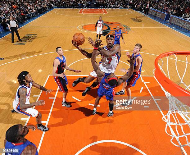 Al Harrington of the New York Knicks shoots against Ben Wallace of the Detroit Pistons during the game on January 18 2010 at Madison Square Garden in...