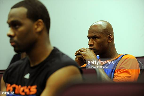 Al Harrington of the New York Knicks watches film before the New York Knicks practice at their practice facility on October 14 2009 in Tarrytown New...