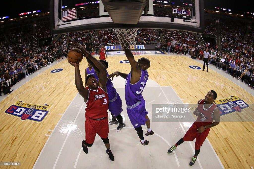 Al Harrington #3 of the Trilogy drives to the basket against Ricky Davis #31 of the Ghost Ballers in week nine of the BIG3 three-on-three basketball league at KeyArena on August 20, 2017 in Seattle, Washington.