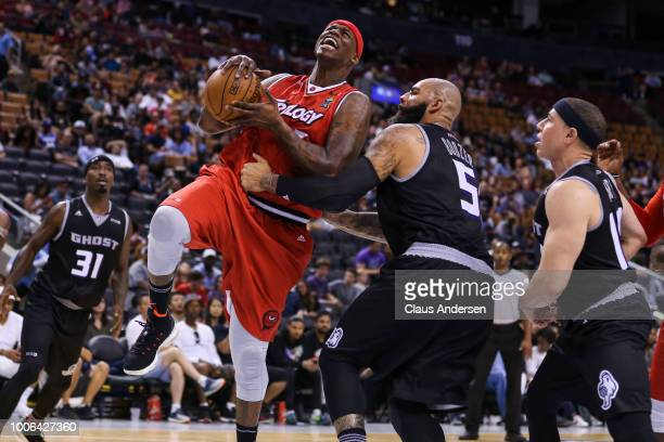 Al Harrington of Trilogy drives to the net against Ghost Ballers during the BIG3 three on three basketball league at Scotiabank Arena on July 27 2018...