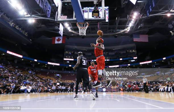 Al Harrington of Trilogy goes for the lay up against the Ghost Ballhers during the BIG3 three on three basketball league at Scotiabank Arena on July...