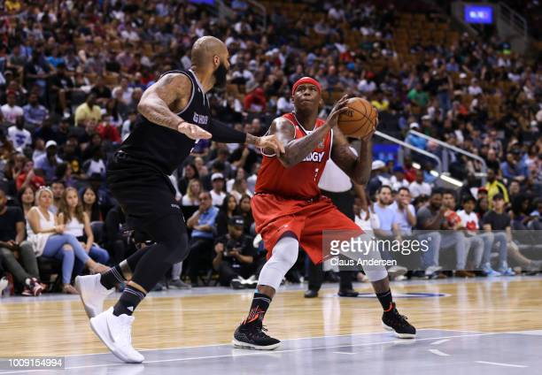 Al Harrington of Trilogy lines up a shot against the Ghost Ballers during the BIG3 three on three basketball league at Scotiabank Arena on July 27...