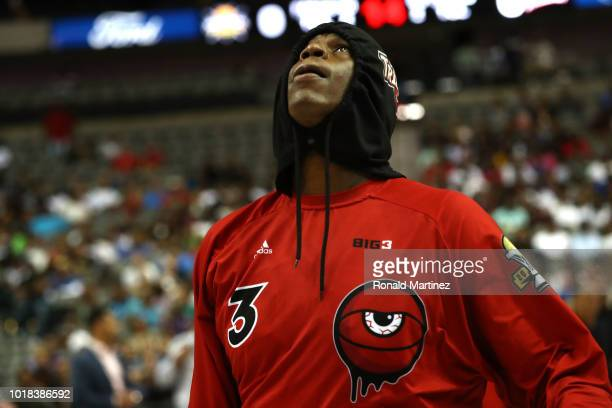 Al Harrington of Trilogy looks on before tipoff against the Killer 3s during week nine of the BIG3 threeonthree basketball league at the American...