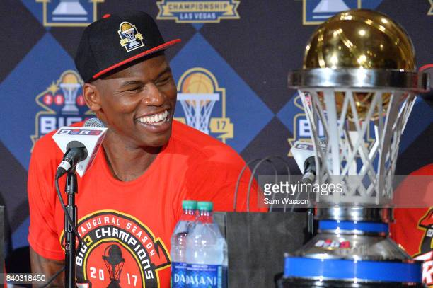 Al Harrington of Trilogy speaks to the media after winning the BIG3 three on three basketball league championship game against 3 Headed Monsters on...