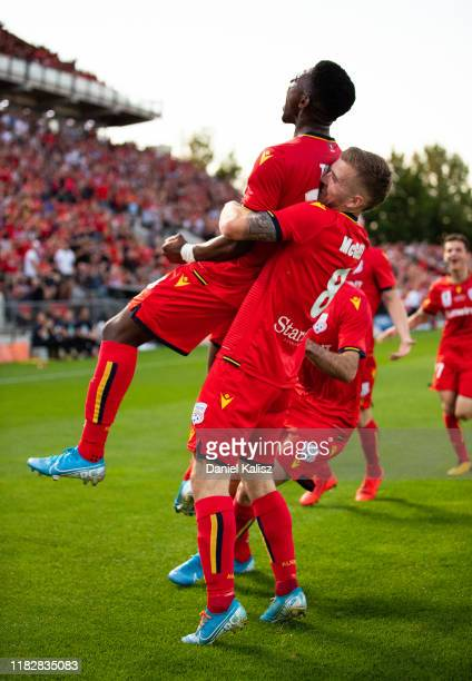 Al Hassan Toure of United celebrates after kicking a goal during the FFA Cup Final between Adelaide United and Melbourne City at Coopers Stadium on...