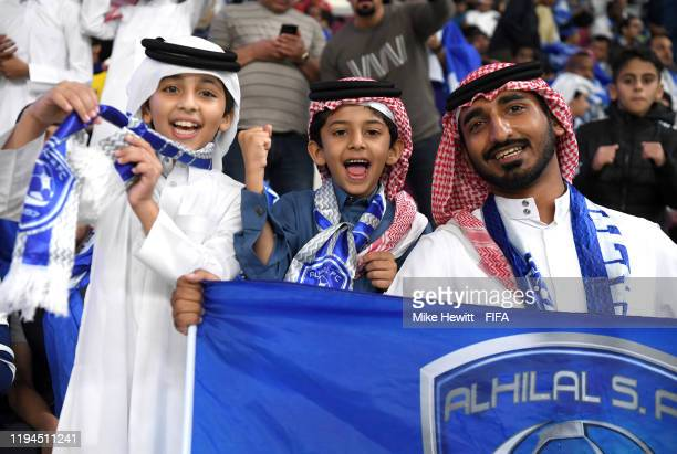 Al Hilal FC fans enjoy the pre match atmosphere prior to the FIFA Club World Cup semifinal match between CR Flamengo and Al Hilal FC at Khalifa...