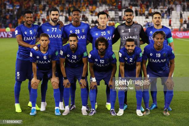Al Hilal line up during the FIFA Club World Cup 2nd round match between Al Hilal and Esperance Sportive de Tunis at Jassim Bin Hamad Stadium on...