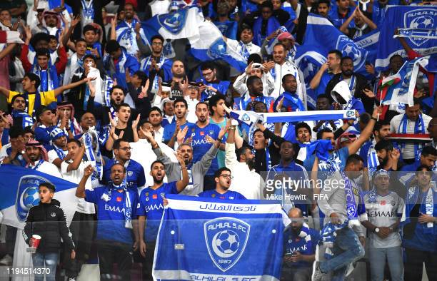 Al Hilal SFC fans show their support prior to the FIFA Club World Cup semifinal match between CR Flamengo and Al Hilal FC at Khalifa International...