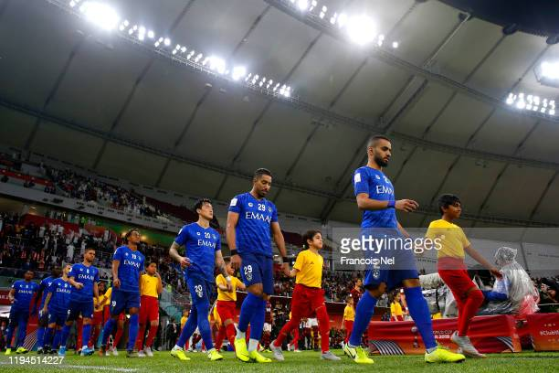 Al Hilal SFC players walk out prior to the FIFA Club World Cup semi-final match between CR Flamengo and Al Hilal FC at Khalifa International Stadium...