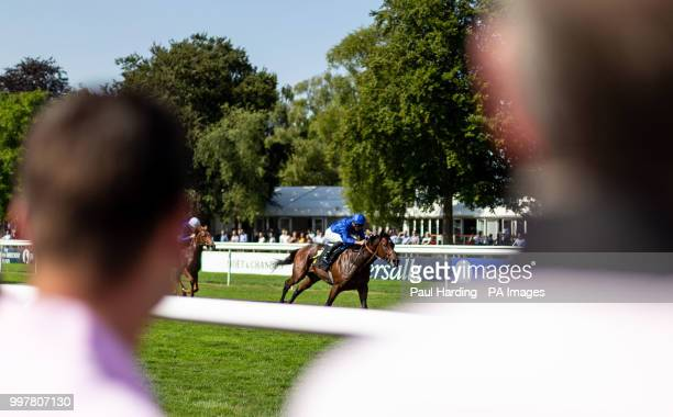 Al Hilalee ridden by James Doyle wins the Weatherbys British EBF Maiden Stakes during day two of The Moet Chandon July Festival at Newmarket...