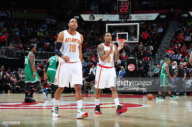 Al Horford and Jeff Teague of the Atlanta Hawks during the game against the Boston Celtics in Game Two of the Eastern Conference Quarterfinals during...