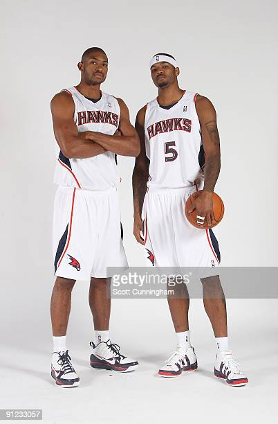 Al Horford and Josh Smith of the Atlanta Hawks pose during 2009 NBA Media Day on September 28 2009 at Philips Arena in Atlanta Georgia NOTE TO USER...