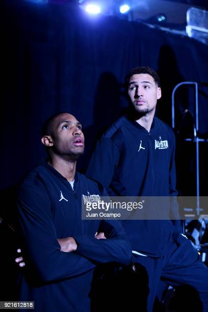 Al Horford and Klay Thompson of team Stephen looks on prior to the NBA AllStar Game as a part of 2018 NBA AllStar Weekend at STAPLES Center on...