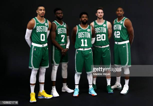 Al Horford answers questions during a press conference on Boston Celtics Media Day on September 24 2018 in Canton Massachusetts