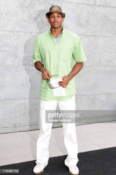 Al Horford arrives at Giorgio Armani fashion show as part of Milan Fashion Week Spring/Summer 2009 on June 24 2008 in Milan Italy