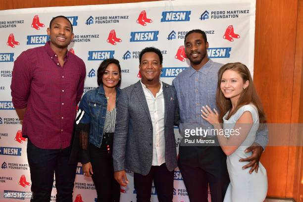 Al Horford Carolina and Pedro Martinez and Geneo and Haley Grissom attend the Pedro Martinez Charity Feast With 45 at Fenway Park on June 29 2018 in...