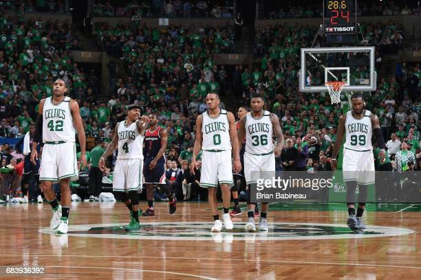 Al Horford Isaiah Thomas Avery Bradley Marcus Smart and Jae Crowder of the Boston Celtics are seen during Game Seven of the Eastern Conference...