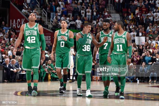 Al Horford Jayson Tatum Marcus Smart Jaylen Brown and Kyrie Irving of the Boston Celtics during the game against the Cleveland Cavaliers on October...