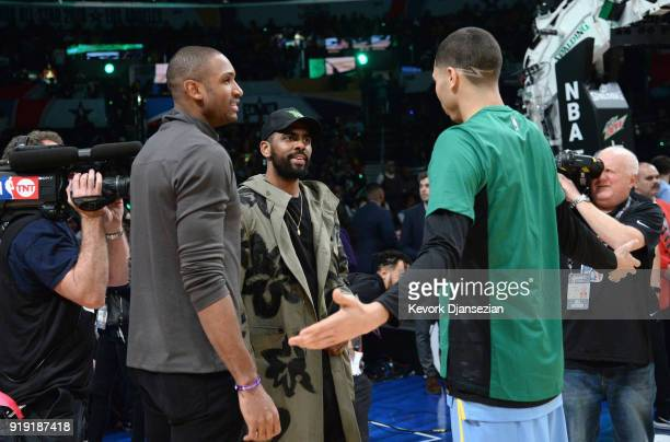 Al Horford Kyrie Irving and Jayson Tatum attend the 2018 Mountain Dew Kickstart Rising Stars Game at Staples Center on February 16 2018 in Los...