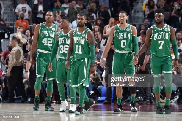 Al Horford Marcus Smart Kyrie Irving Jayson Tatum and Jaylen Brown of the Boston Celtics during the game against the Cleveland Cavaliers on October...