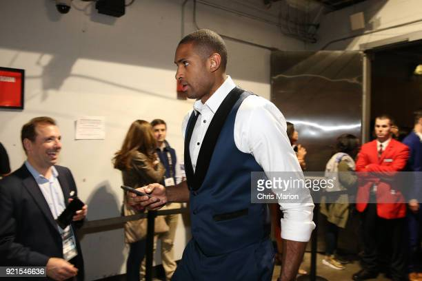 Al Horford of team Stephen arrives to the arena during the NBA AllStar Game as a part of 2018 NBA AllStar Weekend at STAPLES Center on February 18...