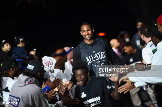 Al Horford of team Stephen is introduced during the 2018 NBA All Star Practice as part of 2018 AllStar Weekend at Verizon Up Arena at LACC on...