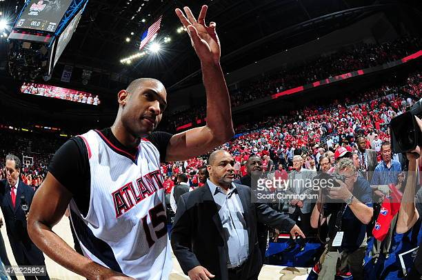 Al Horford of the Atlanta Hawks celebrates after Game Five of the Eastern Conference Semifinals against the Washington Wizards during the 2015 NBA...