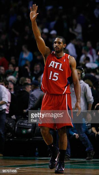 Al Horford of the Atlanta Hawks celebrates the win over the Boston Celtics at the TD Garden on January 11 2010 in Boston Massachusetts The Hawks...