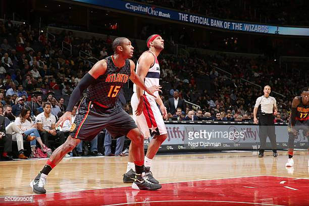 Al Horford of the Atlanta Hawks defends the basket against the Washington Wizards during the game on April 13 2016 at Verizon Center in Washington...