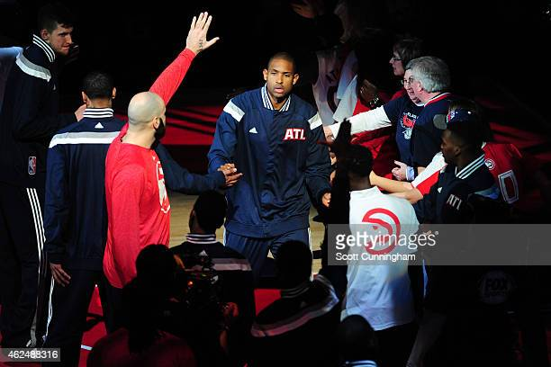 Al Horford of the Atlanta Hawks gets introduced before a game against the Memphis Grizzlies on January 7 2015 at Philips Arena in Atlanta Georgia...