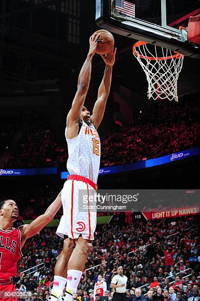 Al Horford of the Atlanta Hawks goes for the dunk during the game against the Chicago Bulls on January 9 2016 at Philips Center in Atlanta Georgia...