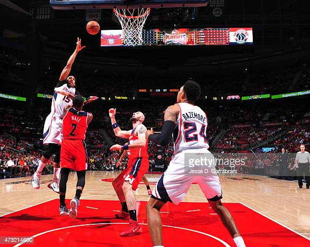 Al Horford of the Atlanta Hawks goes up for the shot against the Washington Wizards in Game five of the Eastern Conference Semifinals of the NBA...