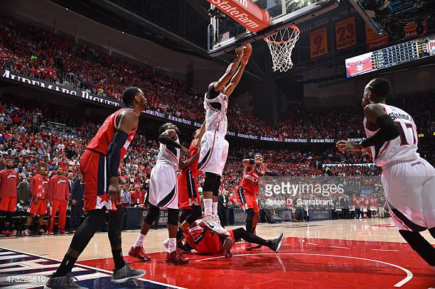 Al Horford of the Atlanta Hawks hits hits the game winning shot against the Washington Wizards in Game five of the Eastern Conference Semifinals of...