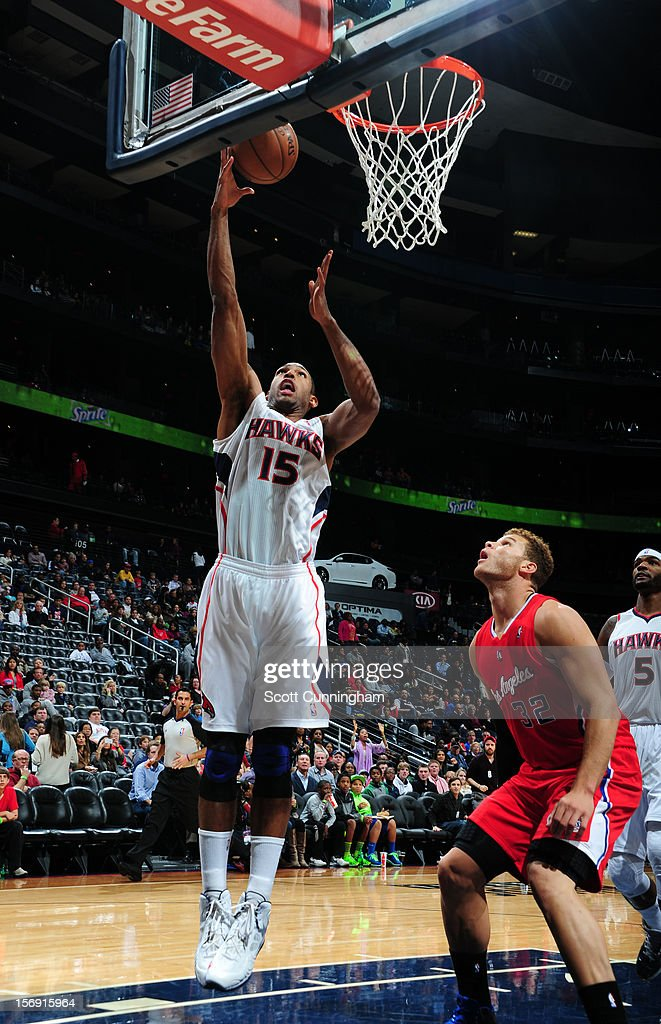 Al Horford #15 of the Atlanta Hawks makes a layup against the Los Angeles Clippers at Philips Arena on November 24, 2012 in Atlanta, Georgia.