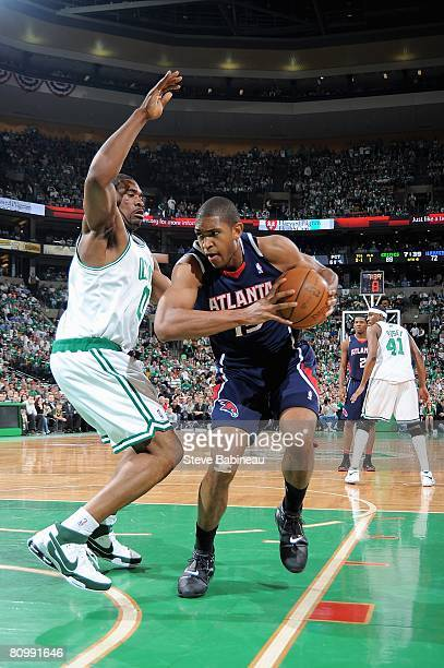 Al Horford of the Atlanta Hawks moves away from Leon Powe of the Boston Celtics in Game Five of the Eastern Conference Quarterfinals during the 2008...