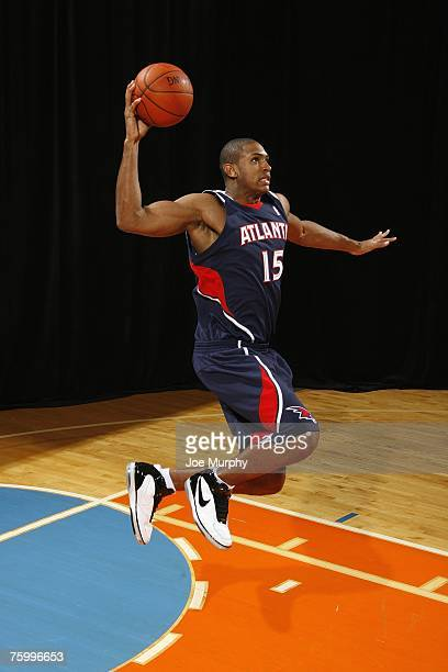 Al Horford of the Atlanta Hawks poses for an action portrait during the 2007 NBA Rookie Photo Shoot on July 27 2007 at the MSG Training Facility in...